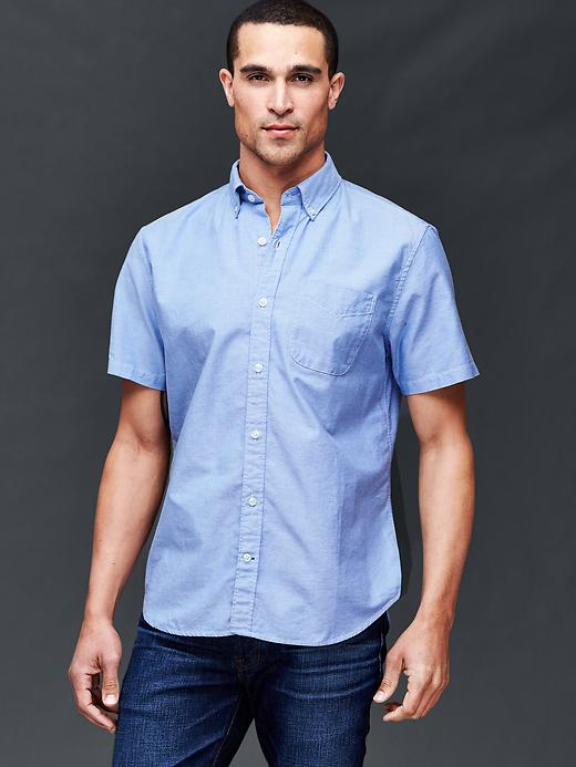 Gap Men Oxford Short Sleeve Standard Fit Shirt Size L - Imperial blue
