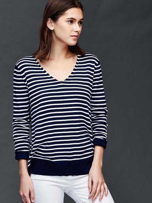 Gap Cotton Stripe Essential V Neck Sweater Size L - Navy stripe