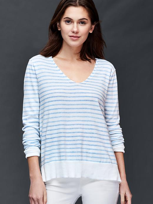 Gap Cotton Stripe Essential V Neck Sweater Size L - Light blue