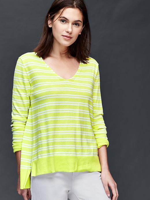 Gap Cotton Stripe Essential V Neck Sweater Size L - Yellow stripe