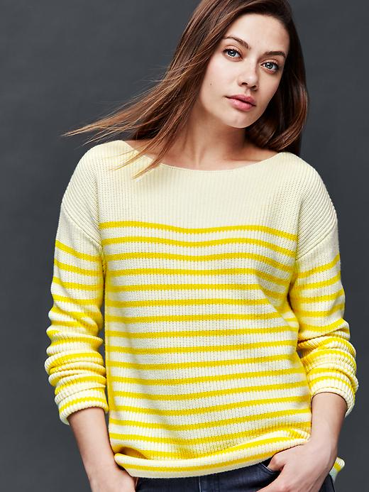 Gap Nautical Stripe Rib Sweater Size L - Yellow stripe