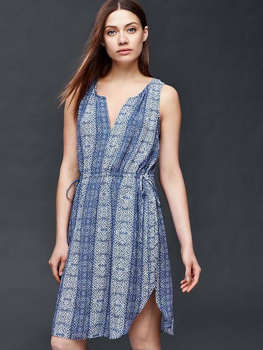 Gap Sleeveless Print Double Tie Dress Size L Petite - Light blue
