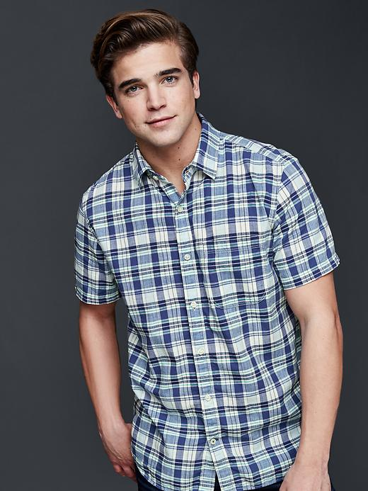Gap Mens Madras Plaid Standard Fit Shirt