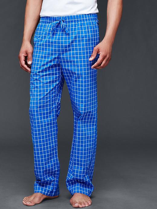 Gap Men Windowpane PJ Pants Size L - Blue allure