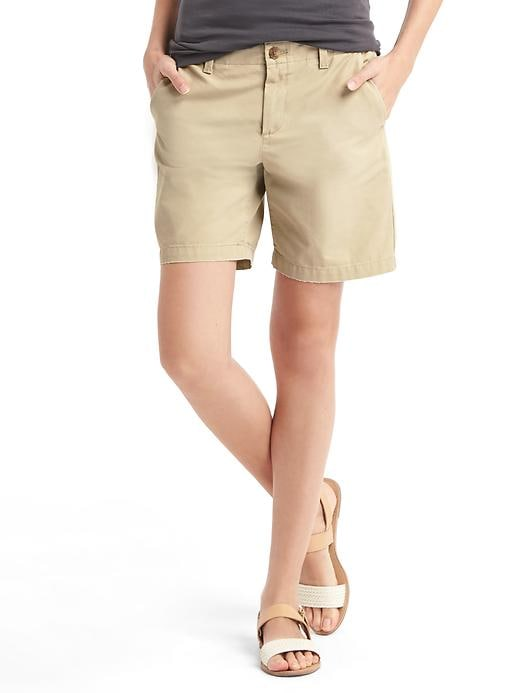 Gap Women Girlfriend Chino Shorts Size 6 Tall - Iconic khaki