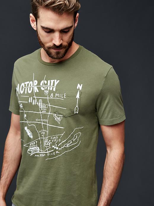 Gap Men Motor City Map Graphic T Shirt Size L - Desert cactus