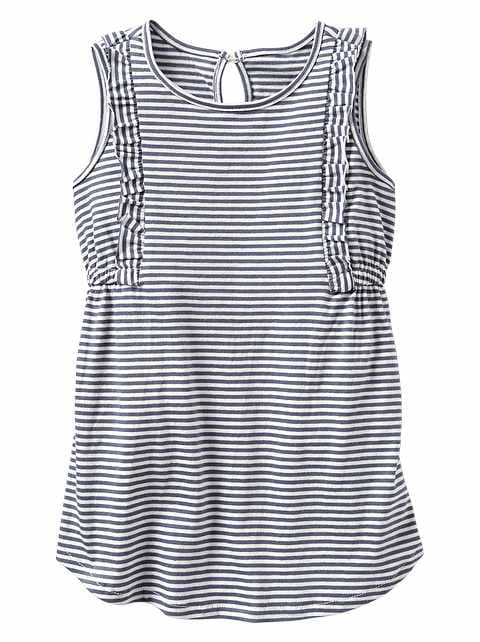 Stripe Ruffle-Trim Dress