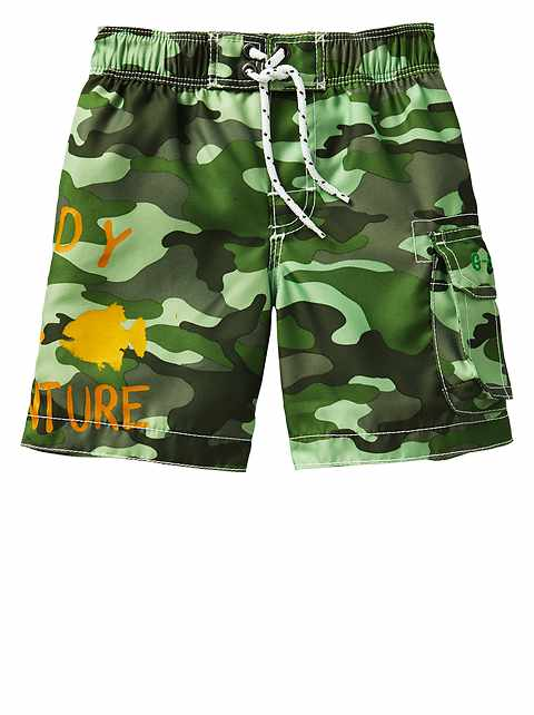 Camo graphic swim trunks