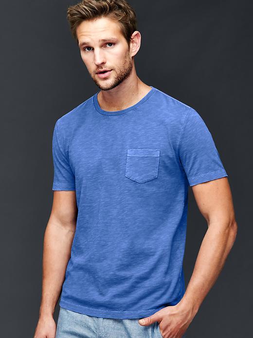Gap Men Garment Dyed Slub T Shirt Size L Tall - Brilliant blue