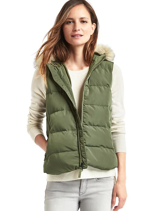 Gap Women Coldcontrol Max Hooded Puffer Vest Size M - Army jacket green