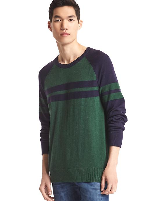 Gap Men Stripe Baseball Sweater Size L - Green stripe