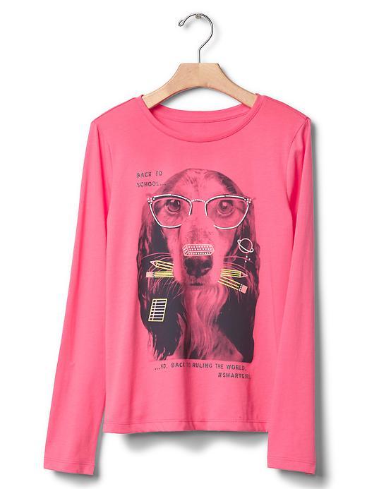 Gap Girls Glitter Graphic Tee Size S - Sassy pink