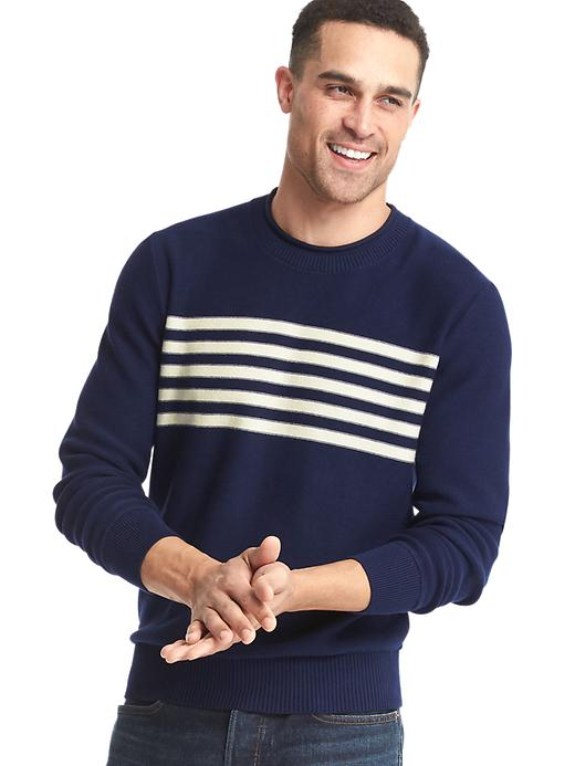 Gap Men Chest Stripe Crew Sweater Size L - Navy/white