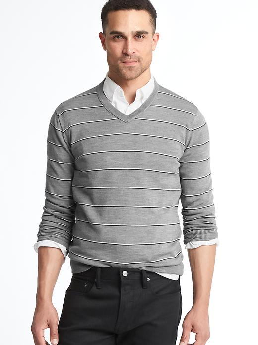 Gap Men Merino Wool Stripe Slim Fit Sweater Size L Tall - White & grey