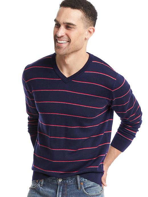 Gap Men Merino Wool Stripe V Neck Sweater Size L - Navy stripe