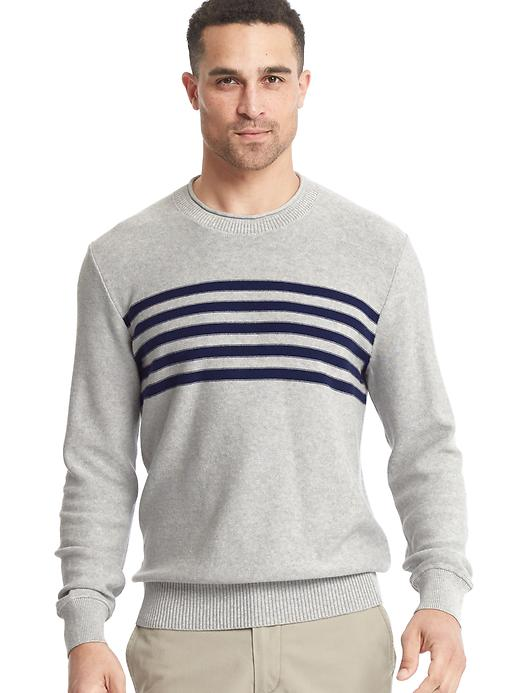 Gap Men Chest Stripe Crew Sweater Size L - Gray/navy