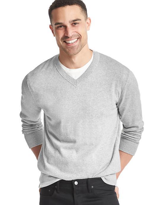 Gap Men Cotton V Neck Sweater Size M - Light gray