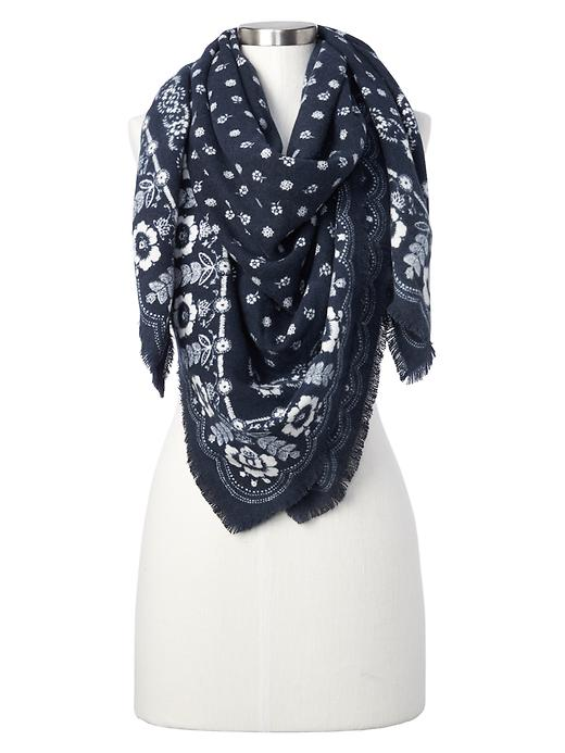 Gap Women Cozy Modal Blanket Scarf Size One Size - Navy bandana