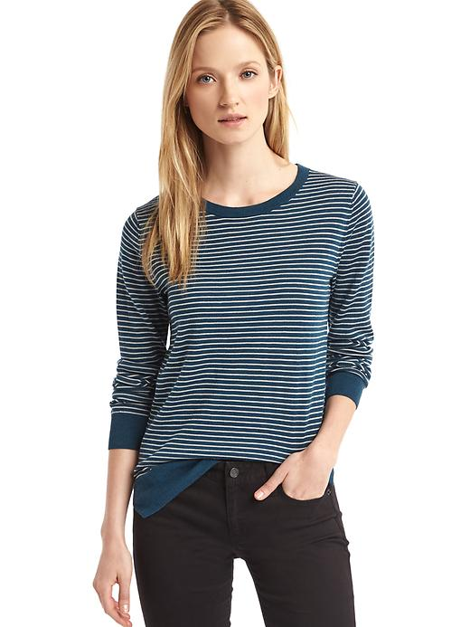 Gap Women Merino Wool Stripe Sweater Size L - Teal stripe