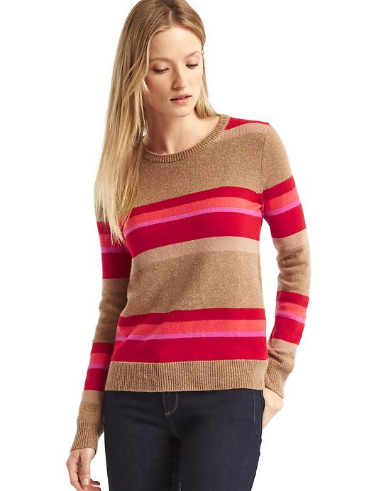 Gap Women Wide Stripe Crewneck Sweater Size L - Pink