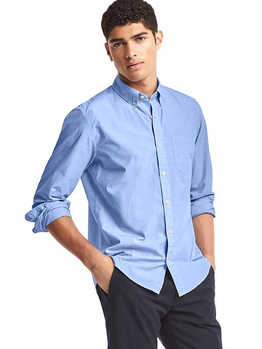 Gap Mens True Wash Button Down Standard Fit Shirt (Constellation Blue)