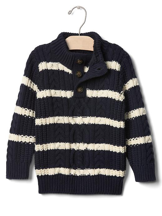 Gap Striped Button Mockneck Sweater Size 12-18 M - True indigo