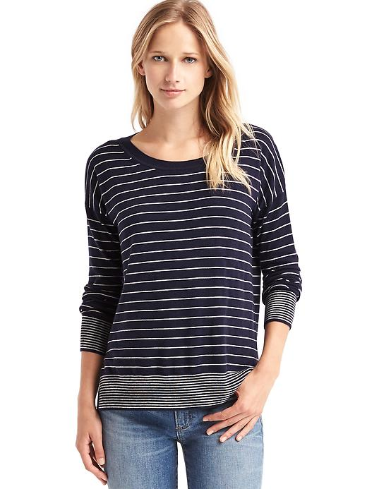 Gap Women Drop Sleeve Stripe Pullover Sweater Size L - Navy heather