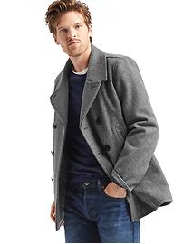 Gap Wool Blend Mens Peacoat (Navy Heather or Heather Grey) + $25 Gap Cash