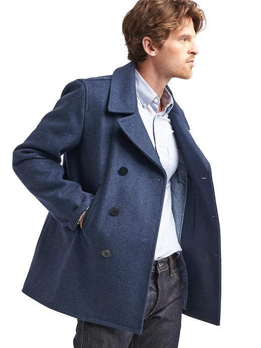Gap Mens Wool Blend Peacoat (Navy Heather or Heather Grey)