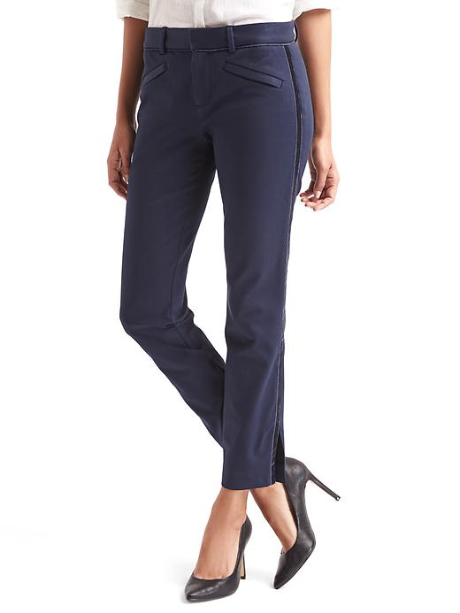 Bi-Stretch Skinny Ankle Velvet-Trim Pants
