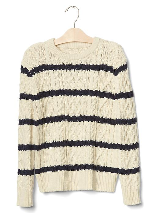 Gap Boys Striped Cable Knit Sweater Size L - French vanilla