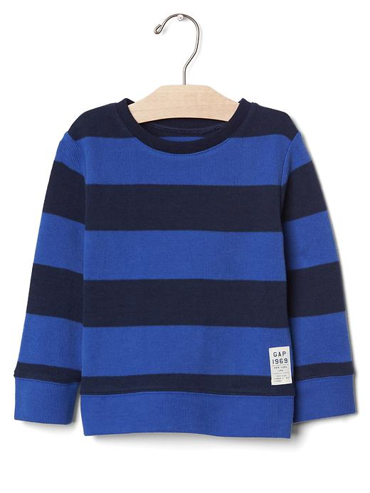 Gap Stripe Ribbed Crew Pullover Size 12-18 M - Bente blue