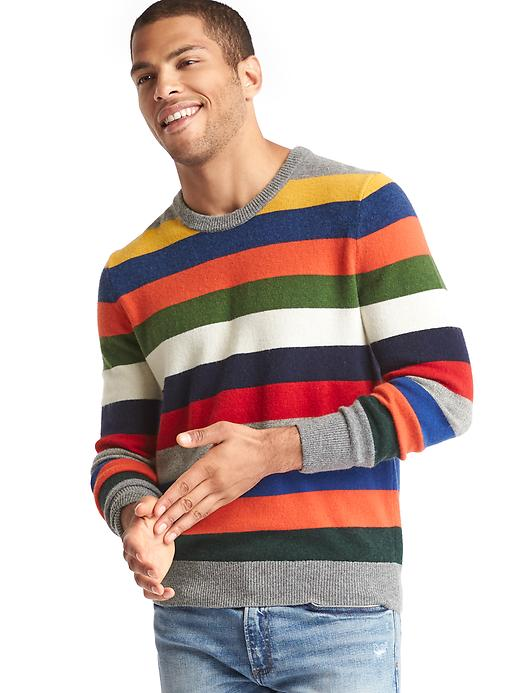 Gap Men Merino Wool Blend Stripe Sweater Size L Tall - Crazy stripe