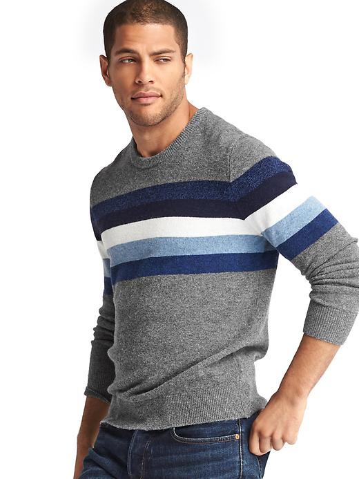 Gap Men Merino Chest Stripe Crew Sweater Size L Tall - Light gray