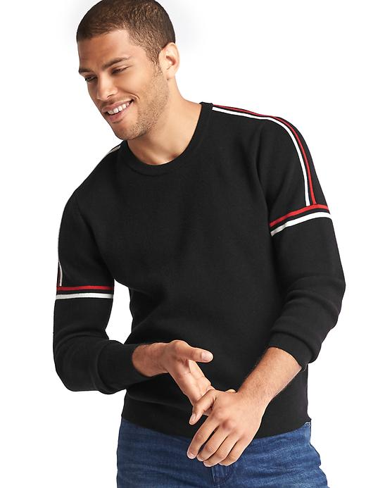 Gap Men Ski Arm Stripe Crew Sweater Size L Tall - Black