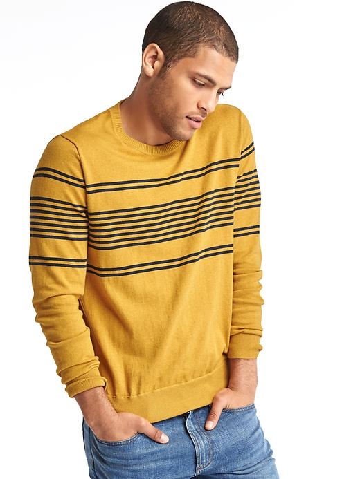 Gap Men Chest Stripe Crew Sweater Size L Tall - Yellow stripe