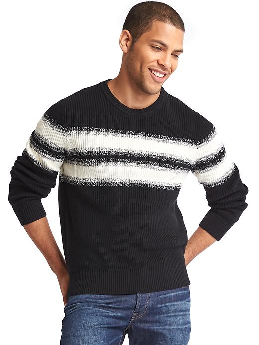 Gap Men Gradient Chest Stripe Crewneck Sweater Size L - Black/white