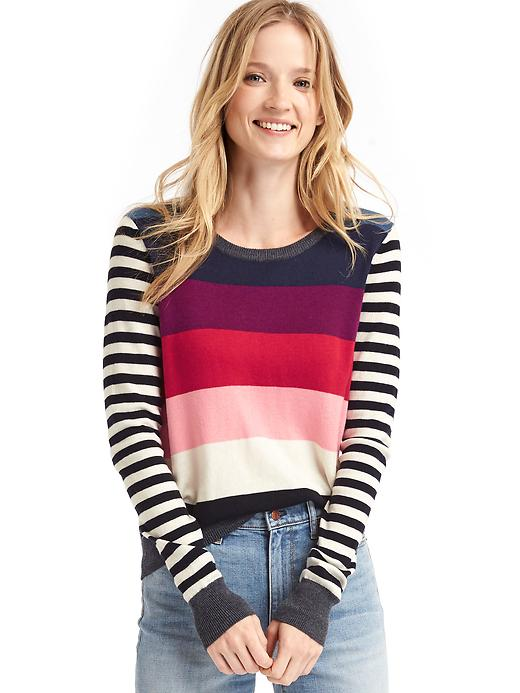Gap Women Contrast Bright Stripe Crewneck Sweater Size L - Pink multi