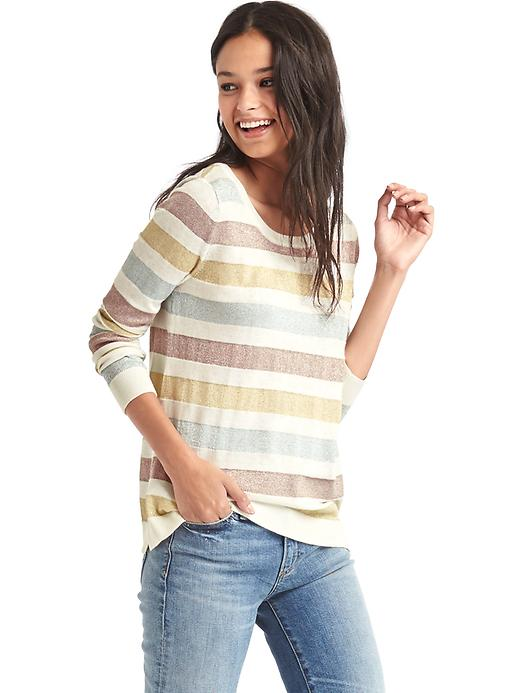 Gap Women Metallic Stripe Sweater Size M - Snow cap