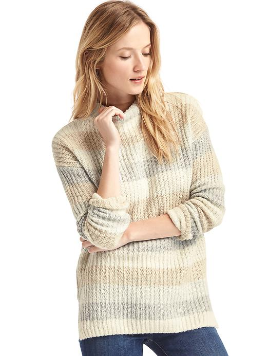 Gap Women Multi Color Stripe Tunic Sweater Size L - Neutral stripe