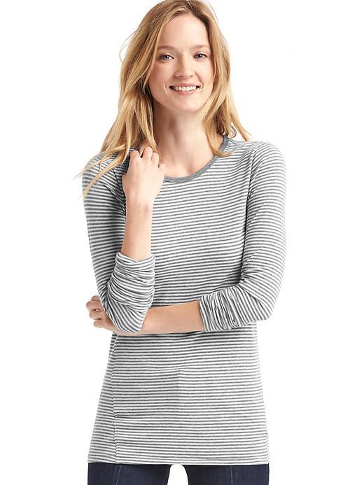 Gap Women Long Sleeve Stripe Tunic Tee Size M - Grey stripe