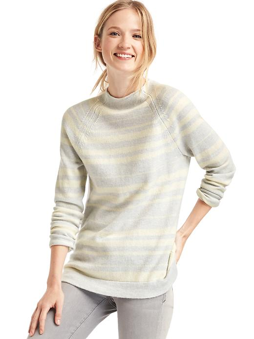 Gap Women Merino Wool Blend Stripe Mock Neck Sweater Size L - Grey stripe