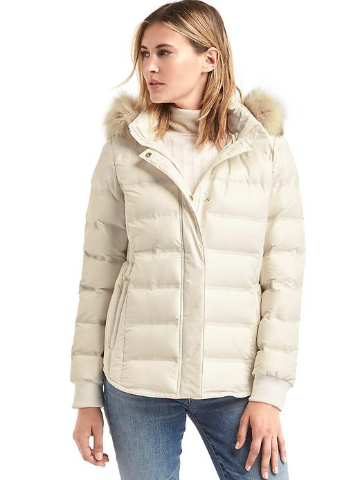 Gap Women Coldcontrol Lite Metallic Ski Puffer Jacket Size L - Snow cap