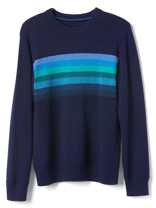Gap Boys Chest Stripes Crew Sweater Size L - Elysian blue