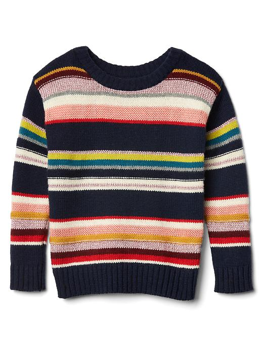 Gap Multi Stripe Crew Sweater Size 12-18 M - True indigo