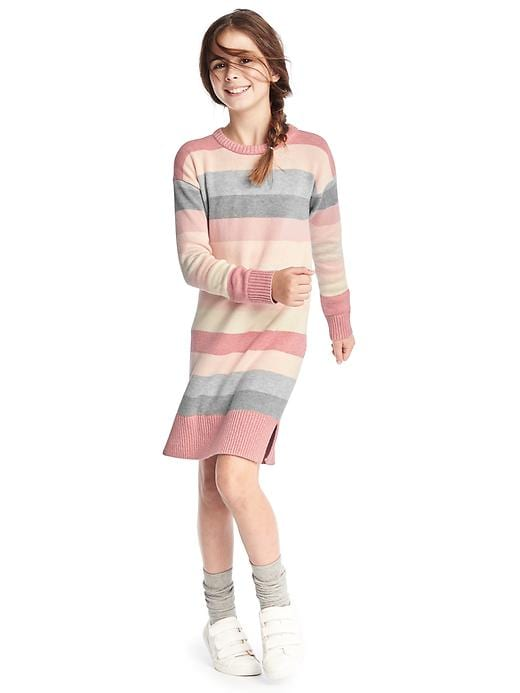 Gap Girls Rose Stripe Sweater Dress Size L - Murmur pink