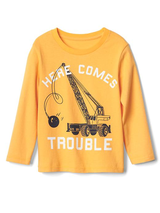 Gap Graphic Long Sleeve Crew Tee Size 12-18 M - Yellow