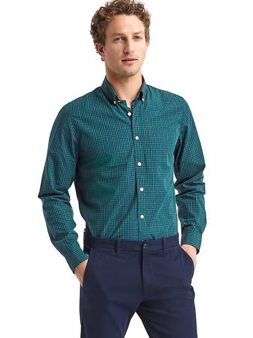 Gap Men True Wash Tartan Standard Fit Shirt Size L Tall - Green pine