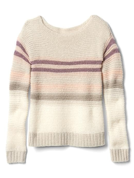 Gap Girls Shimmer Stripes Sweater Size L - Oatmeal