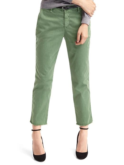Gap Women Girlfriend Frayed Crop Chinos Size 0 Regular - Twig